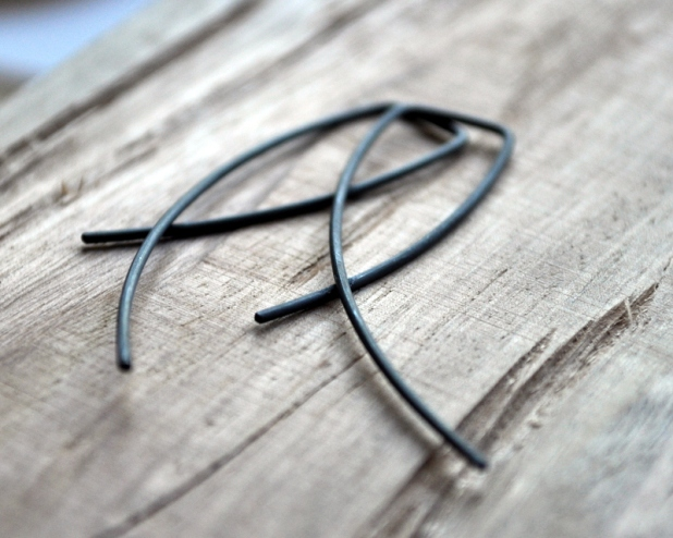 Entwined Oxidised Urban Eco Earrings. Photo from Jess Van Den