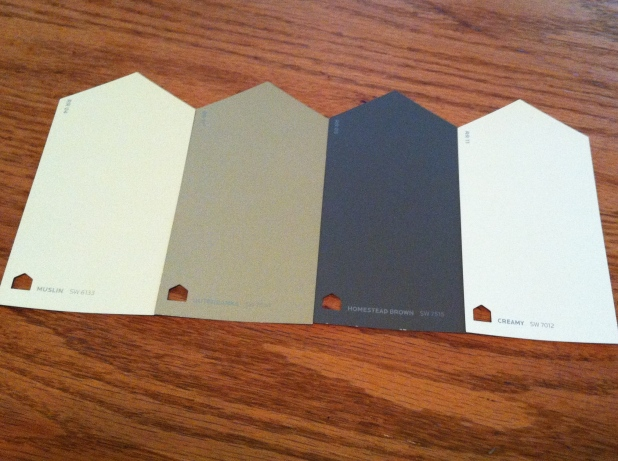 L-R: Sherwin Williams Muslin, Outerbanks, Homestead Brown, Creamy
