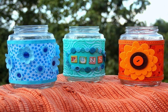 Recycled Mod Podge Jars for Your Desk. Photo from Amy Anderson
