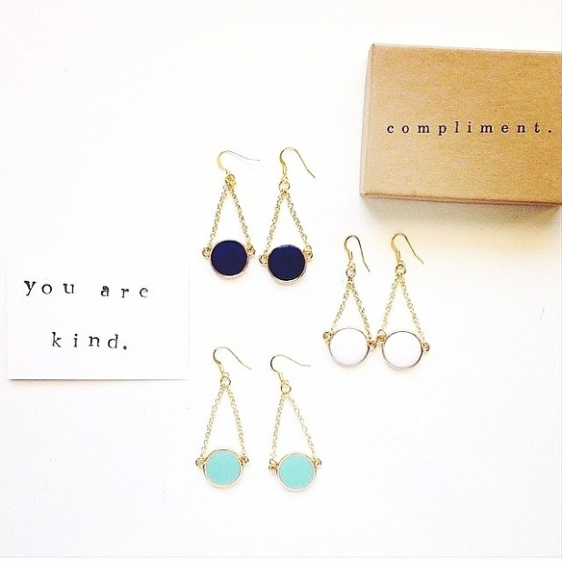 Gratitude earrings. Image from Compliment's Instagram Feed