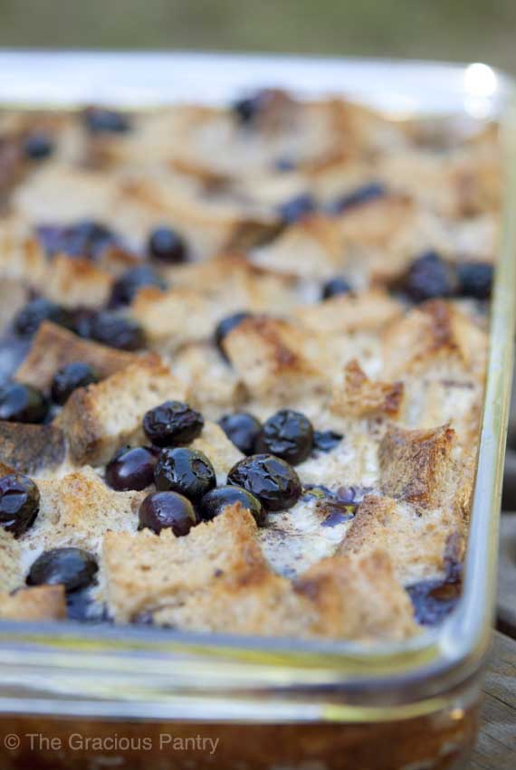 Clean Eating Blueberry French Toast Casserole. Photo Credit: Tiffany McCauley / The Gracious Pantry